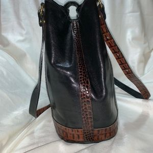 Brahmin Bags - Vintage Brahmin Black & Brown Leather Shoulder Bag